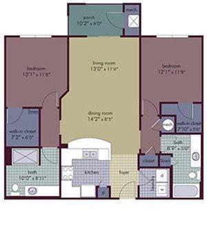 Pacha Floorplan at Abberly Village Apartment Homes, South Carolina