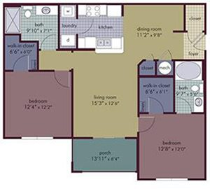 Sapphire Floorplan at Abberly Village Apartment Homes, West Columbia, SC