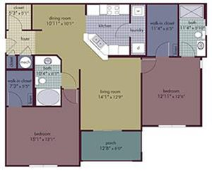 Soma Floorplan at Abberly Village Apartment Homes, West Columbia, 29169