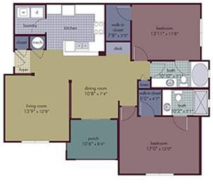 Strata Floorplan at Abberly Village Apartment Homes, West Columbia, South Carolina