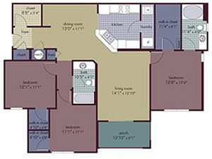Talay Floorplan at Abberly Village Apartment Homes, West Columbia
