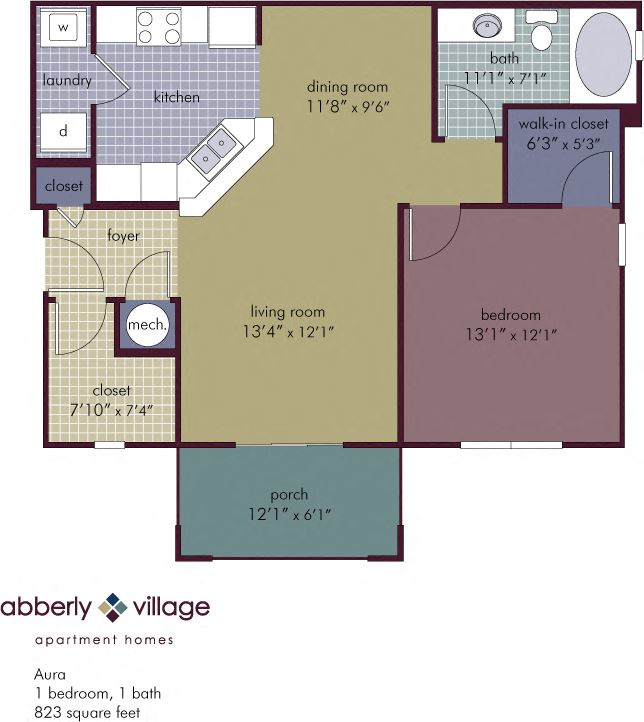Aura 1 Bedroom 1 Bathroom Floor Plan at Abberly Village Apartment Homes by HHHunt, West Columbia, SC, 29169