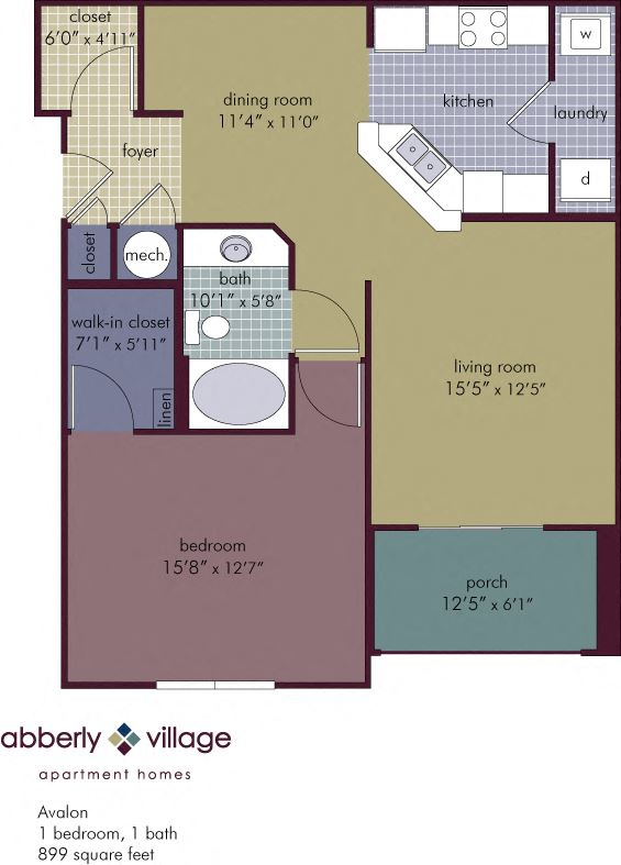 Avalon 1 Bedroom 1 Bathroom Floor Plan at Abberly Village Apartment Homes by HHHunt, West Columbia, SC