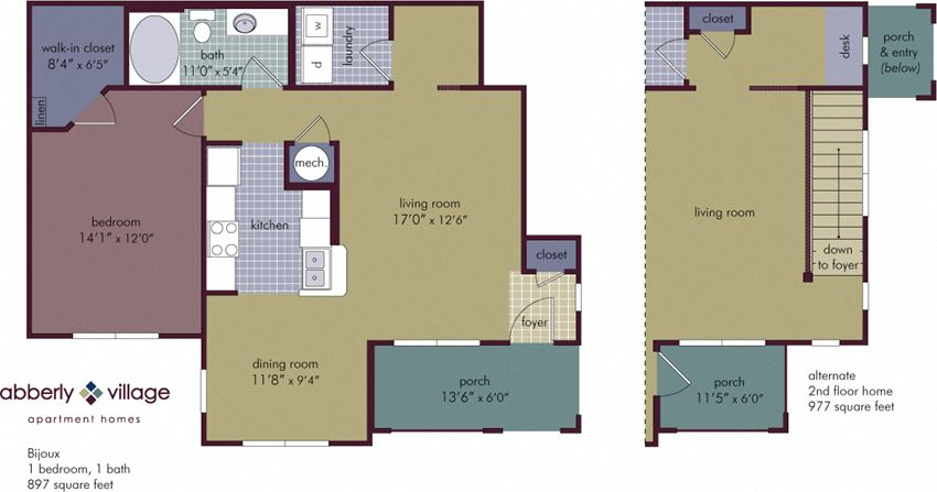 Bijioux 1 Bedroom 1 Bathroom Floor Plan at Abberly Village Apartment Homes by HHHunt, West Columbia, 29169