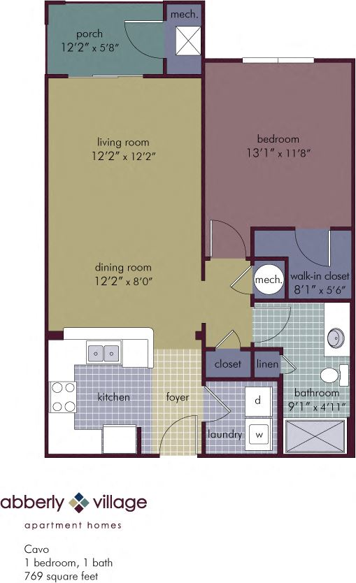 Cavo 1 Bedroom 1 Bathroom Floor Plan at Abberly Village Apartment Homes by HHHunt, West Columbia, South Carolina
