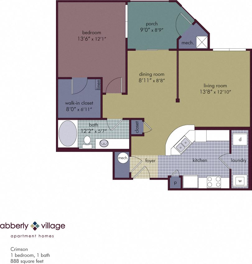 Crimson 1 Bedroom 1 Bathroom Floor Plan at Abberly Village Apartment Homes by HHHunt, West Columbia