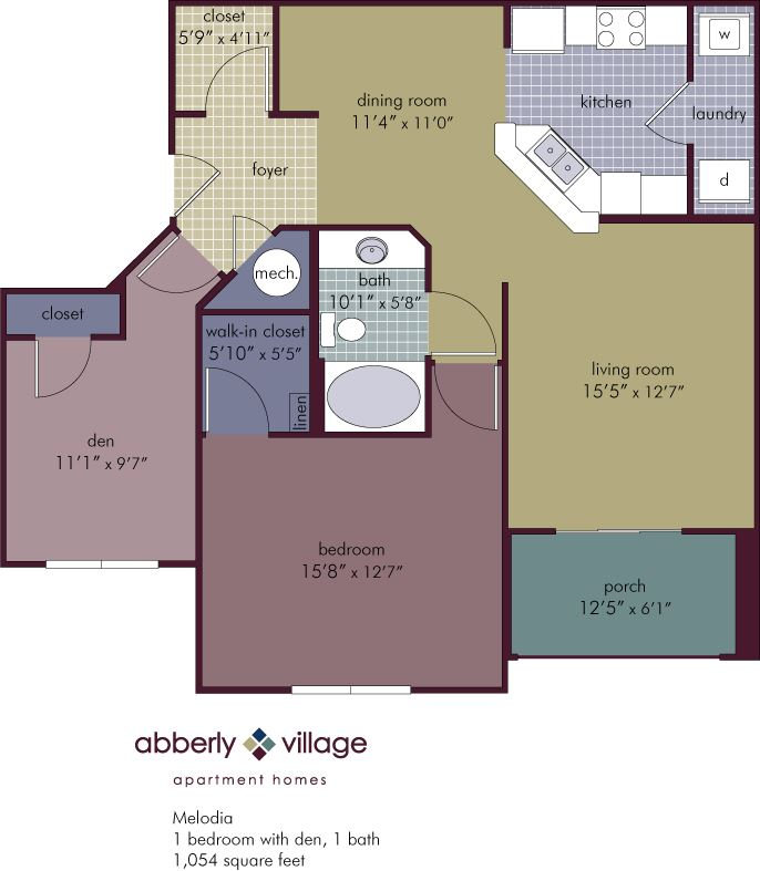 Melodia 2 Bedroom 1 Bathroom Floor Plan at Abberly Village Apartment Homes by HHHunt, South Carolina