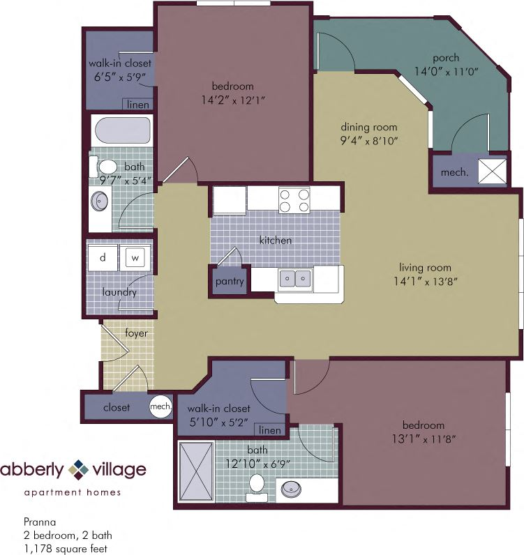 Pranna 2 Bedroom 2 Bathroom Floor Plan at Abberly Village Apartment Homes by HHHunt, West Columbia, SC