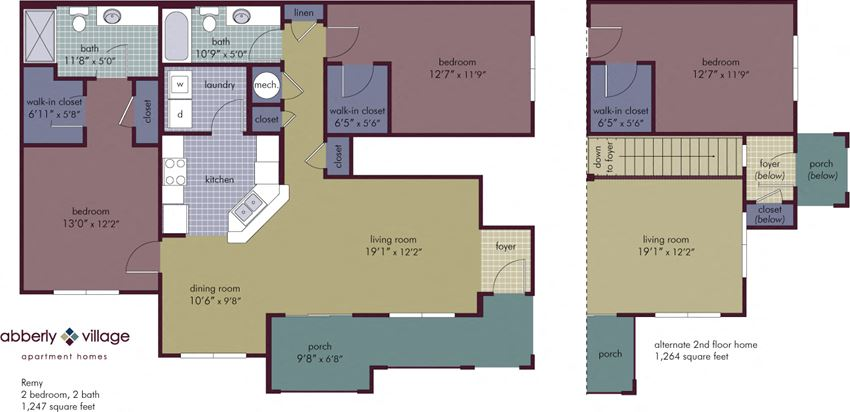 Remy 2 Bedroom 2 Bathroom Floor Plan at Abberly Village Apartment Homes by HHHunt, West Columbia, 29169