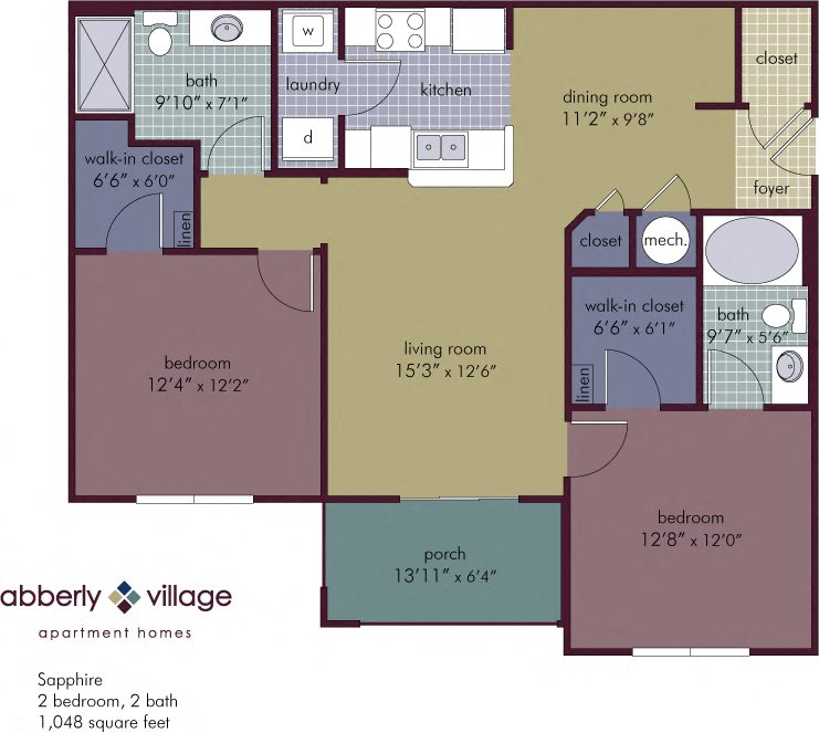Sapphire 2 Bedroom 2 Bathroom Floor Plan at Abberly Village Apartment Homes by HHHunt, West Columbia, SC, 29169