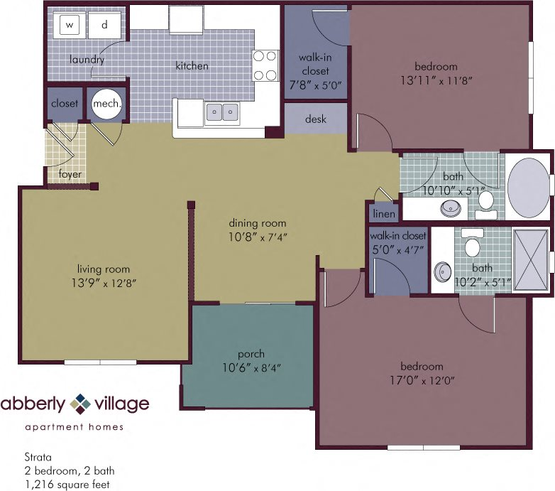Strata 2 Bedroom 2 Bathroom Floor Plan at Abberly Village Apartment Homes by HHHunt, West Columbia
