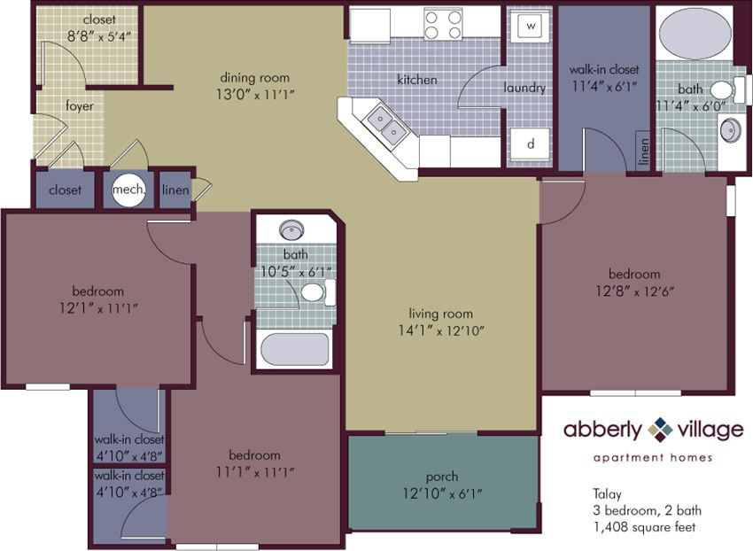 Talay 3 Bedroom 2 Bathroom Floor Plan at Abberly Village Apartment Homes by HHHunt, South Carolina