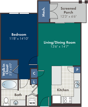 Chelsea Floorplan at Abberly at West Ashley Apartment Homes, South Carolina