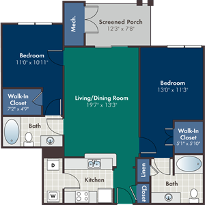 Mission Floorplan at Abberly at West Ashley Apartment Homes, Charleston, SC