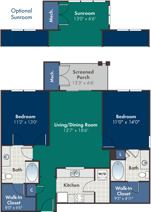 Paseo Floorplan at Abberly at West Ashley Apartment Homes, Charleston, 29414