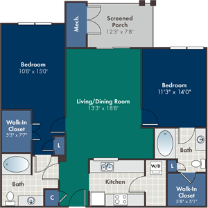 Rino Floorplan at Abberly at West Ashley Apartment Homes, Charleston, South Carolina