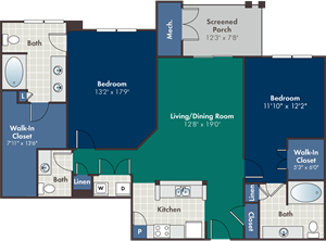 Wynwood Floorplan at Abberly at West Ashley Apartment Homes, South Carolina, 29414