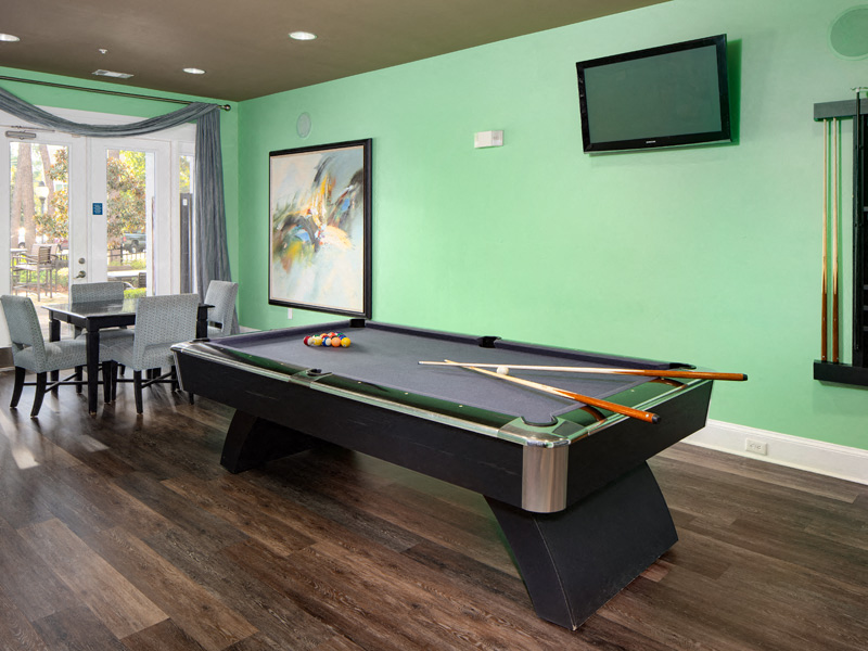 Pool Table in Game Room at Abberly at West Ashley Apartment Homes, Charleston, SC