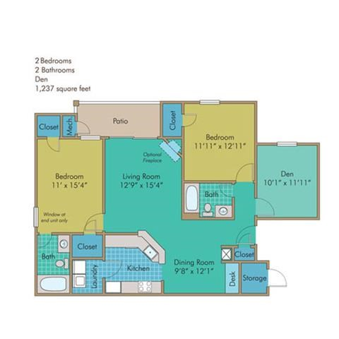 Bedford Floorplan at Abberly Twin Hickory Apartment Homes by HHHunt, Virginia