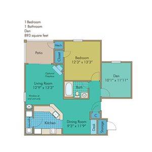 Chesapeake Floorplan at Abberly Twin Hickory Apartment Homes, Glen Allen, Virginia