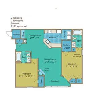 James Floorplan at Abberly Twin Hickory Apartment Homes, Glen Allen, VA, 23059