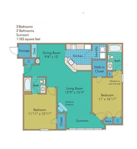 James Floorplan at Abberly Twin Hickory Apartment Homes by HHHunt, Glen Allen, VA, 23059