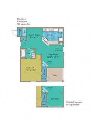 Orchard with Sunroom Floorplan at Abberly Twin Hickory Apartment Homes, Virginia, 23059