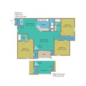 Shenandoah with Sunroom Floorplan at Abberly Twin Hickory Apartment Homes, Glen Allen, VA