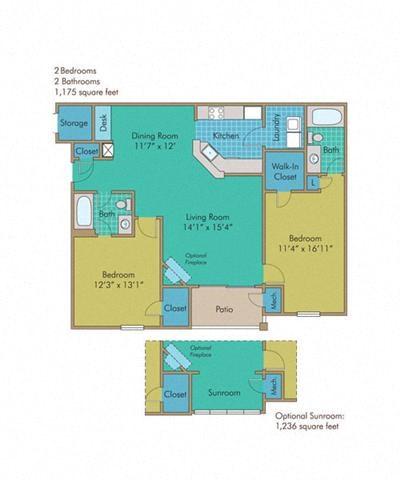 Skyline with Sunroom Floorplan at Abberly Twin Hickory Apartment Homes by HHHunt, Glen Allen, VA, 23059