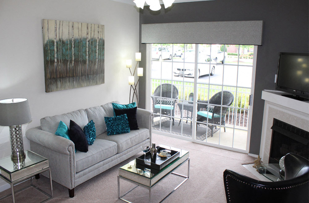 Large Living Room With Private Balcony at Abberly Twin Hickory Apartment Homes, Glen Allen, 23059