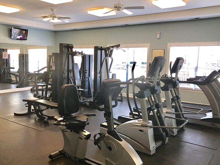 Fully Equipped Fitness Center at Abberly Twin Hickory Apartment Homes by HHHunt, Glen Allen