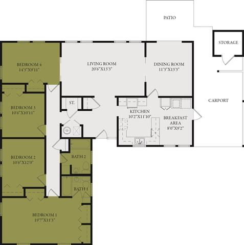 Four Bedroom-Two Bath