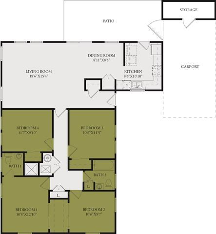 Four Bedroom-Two and One Half Bath