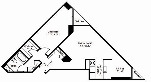 Deluxe One Bedroom Floor Plan 3