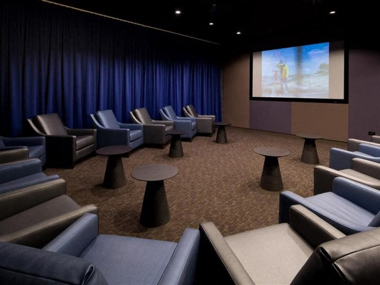 Deluxe private theater with surround sound at Hubbard Place, Chicago, Illinois