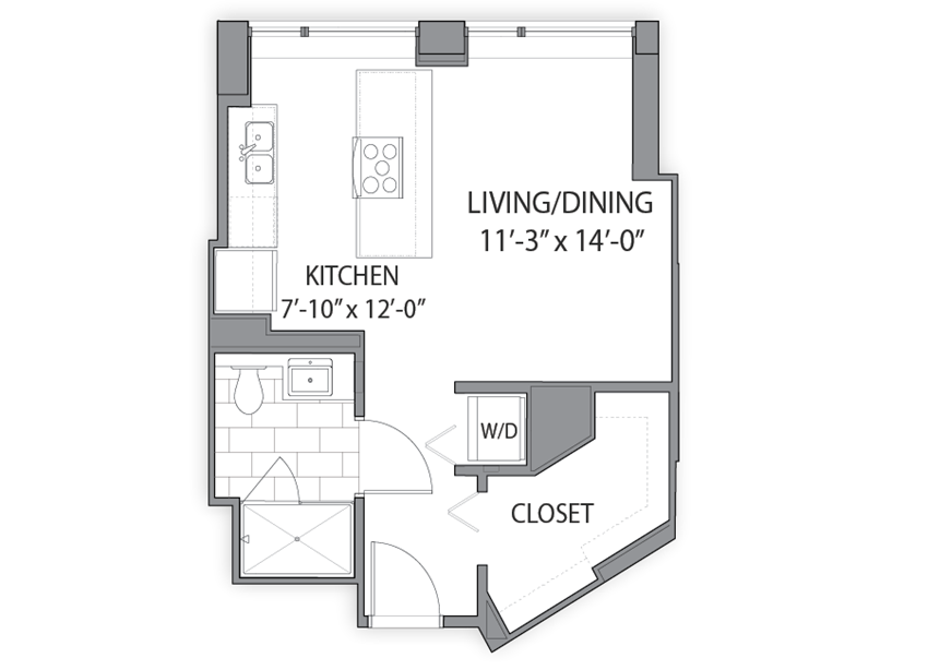 Apartment floor plan at Hubbard Place, Chicago