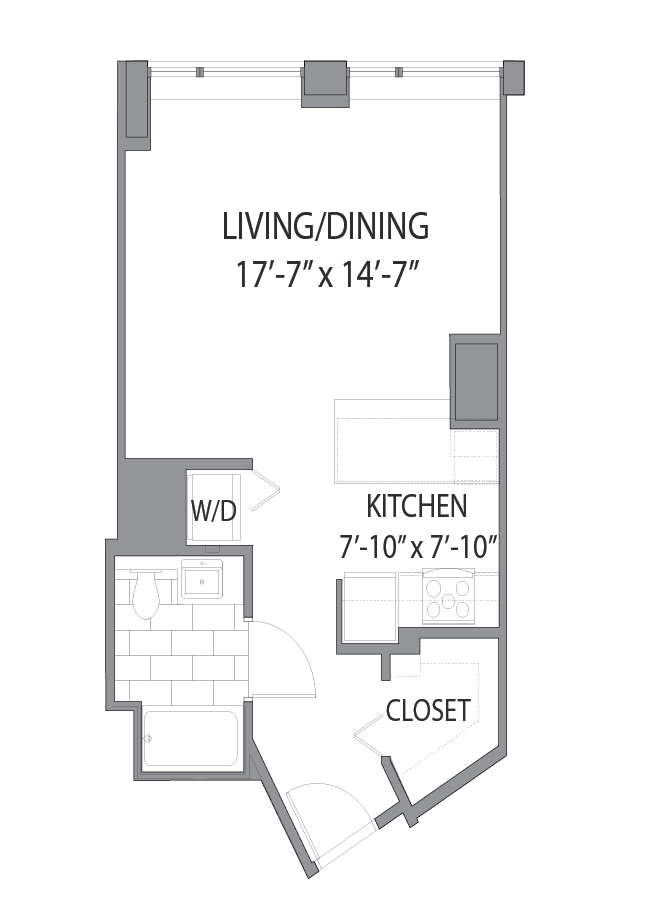 Apartment floor plan at Hubbard Place, Chicago, 60654