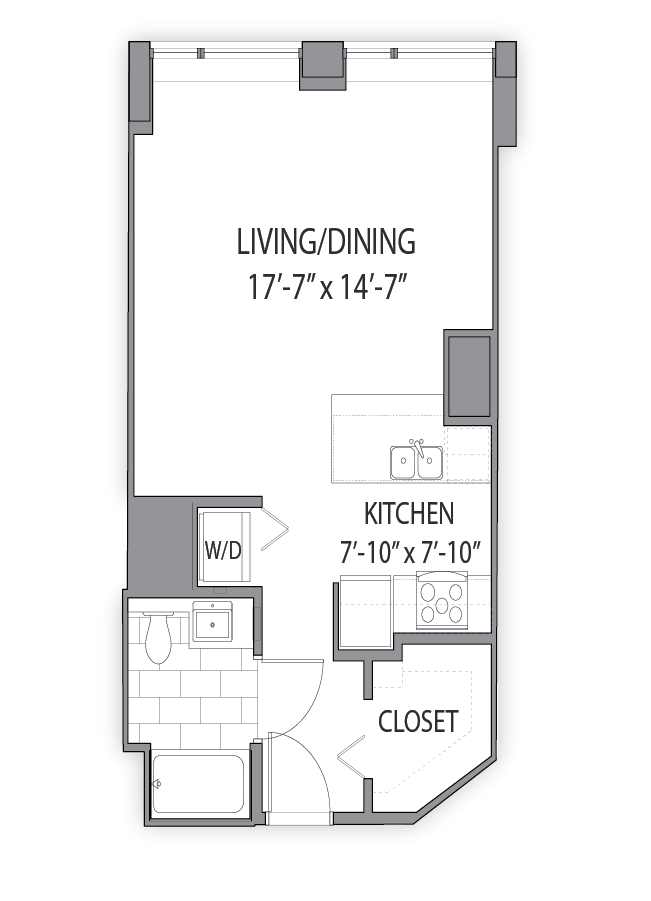 Apartment floor plan at Hubbard Place, Chicago, IL 60654