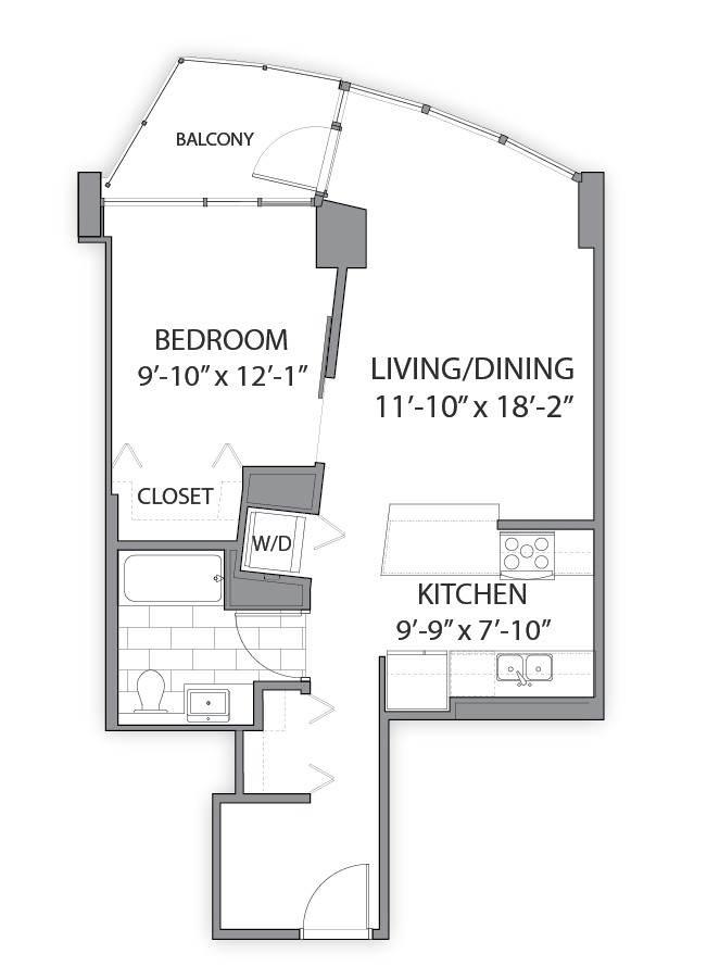 1 bedroom apartments in Chicago. Luxury apartment floor plan at Hubbard Place, Chicago, Illinois
