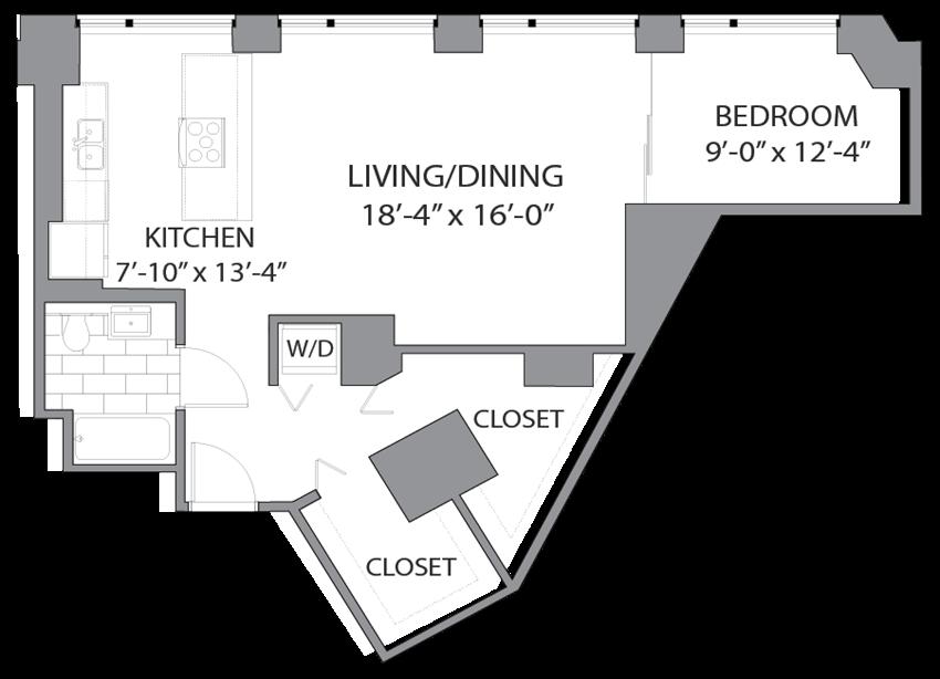 Floor plan at Hubbard Place, Illinois