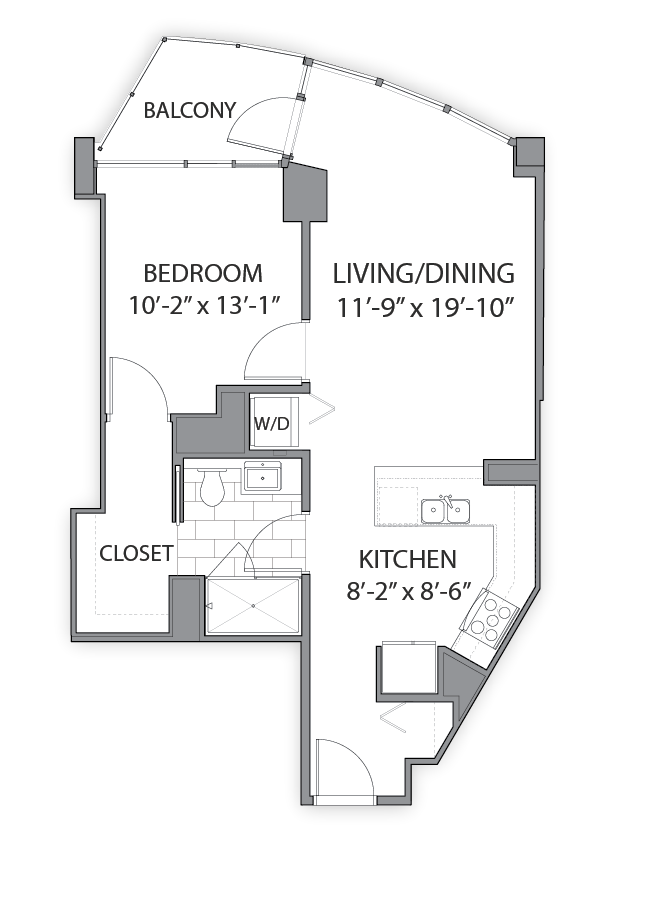 1 bedroom apartments in Chicago. Luxury floor plan at Hubbard Place, Illinois