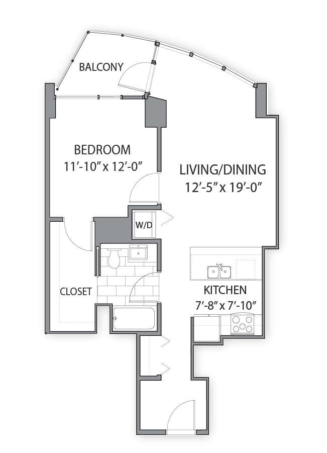 1 bedroom apartments in Chicago. Apartment Floor plan at Hubbard Place, Chicago, Illinois