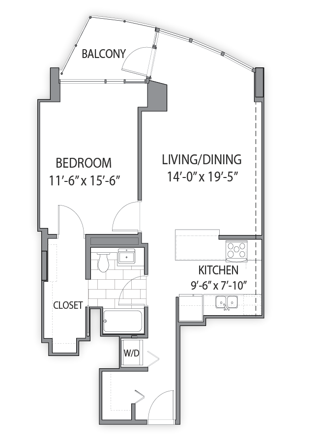 1 bedroom apartments in Chicago. Luxury apartment Floor plan at Hubbard Place, Chicago, 60654