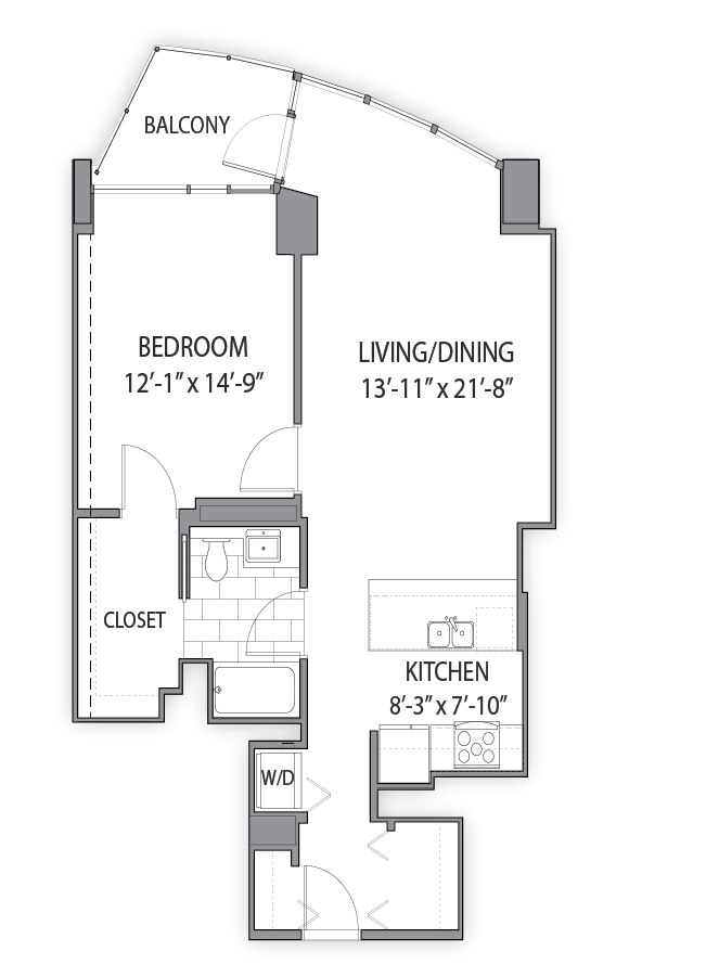 1 bedroom apartments in Chicago. Luxury apartment floor plans at Hubbard Place, Chicago, IL