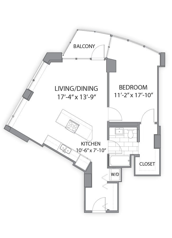 1 bedroom apartments in Chicago. Luxury floor plan at Hubbard Place, Chicago