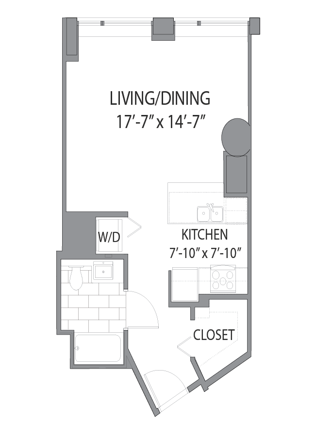 Luxury apartment floor plan at Hubbard Place, Chicago, IL