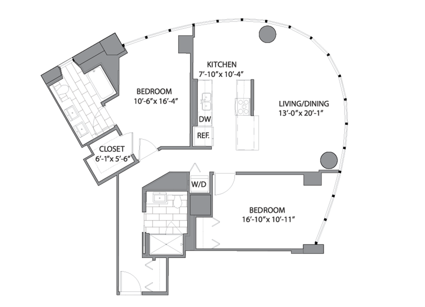 Floor plan at Hubbard Place, Chicago, 60654