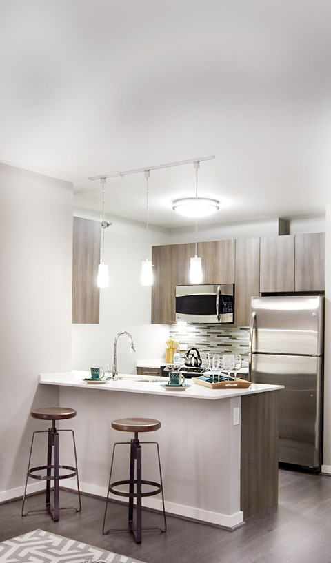 Chef Inspired Kitchen with Chic Pendant Lighting at Hubbard Place, Chicago