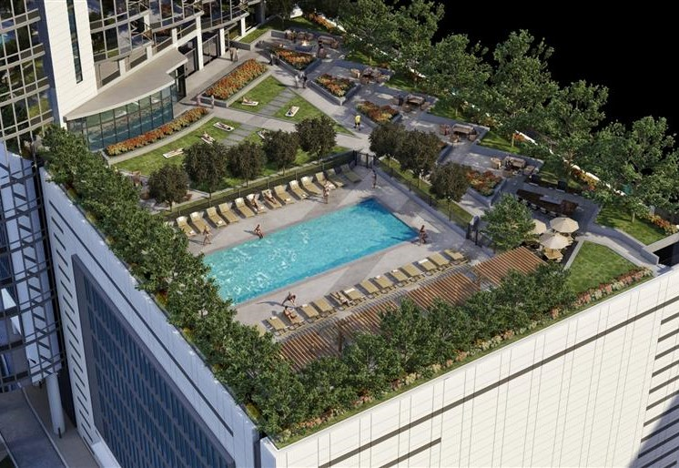 Enjoy the rooftop pool at Hubbard Place in River North, Chicago.