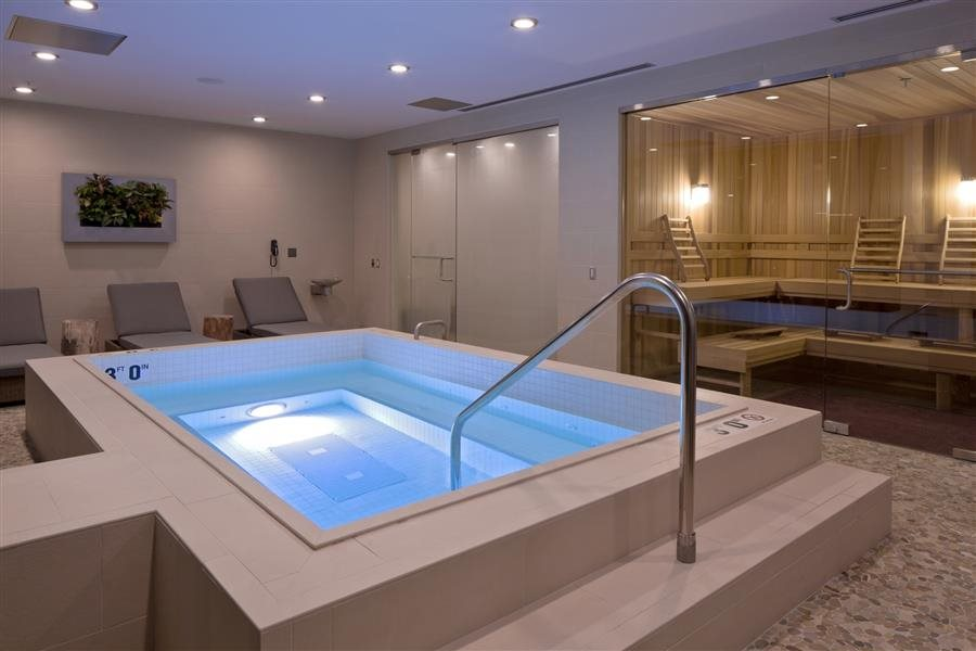 Indoor Whirlpool Spa, Sauna and Steam Rooms at this luxury residence in Chicago.